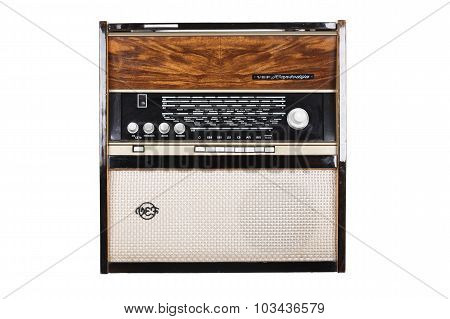 Vintage Radiola (radio) VEF Rapsodia isolated on white background