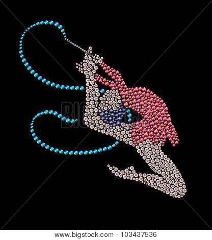 Jumping gymnast with blue ribbon made with bright colored rhinestones