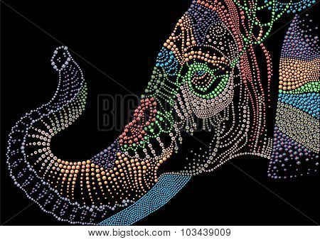 Hand made detailed colorful portrait of elephant head made with rhinestones on black background. Dia
