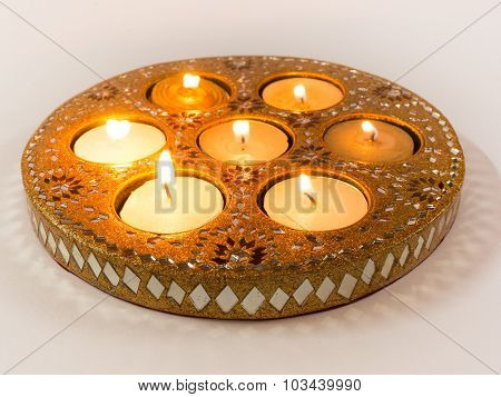 Isolated Diya lamps used in Diwali celebrations