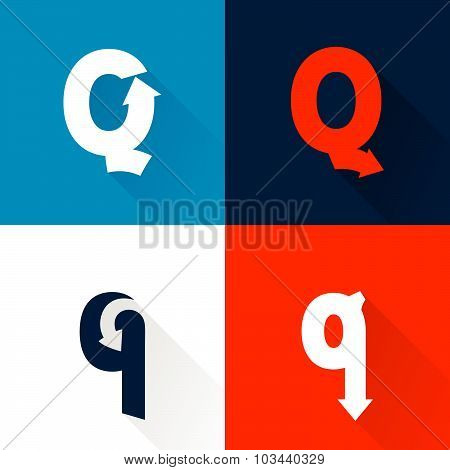 Q Letter With Arrows Set.