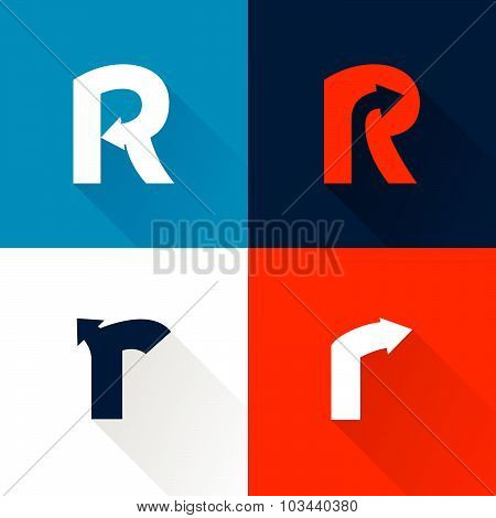 R Letter With Arrows Set.