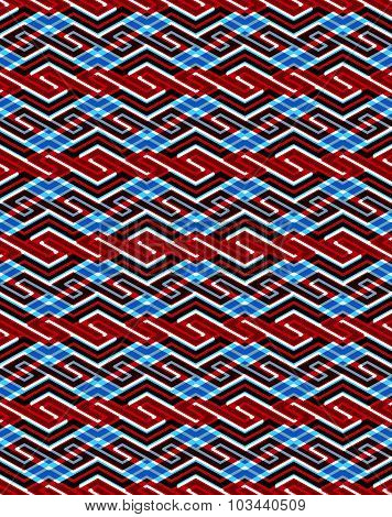 Geometric seamless pattern with transparent impose figures, endless ethnic vector ornamental