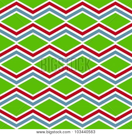 Rhythmic colorful textured endless pattern with rhombs, continuous intertwine geometric backdrop