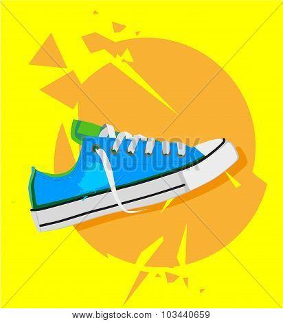Flat modern illustration with sport shoe on grunge yellow and orange dynamic grunge background. Good