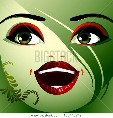 Beautiful happy woman with stylish makeup.