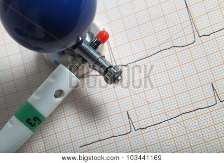 Close-up Of Medical Supplies For Ecg Recording