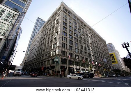 CHICAGO - FRIDAY, SEPTEMBER 25, 2015: The Marshall Fields department store. Marshall Field & Company was an upscale department store in Chicago before being acquired by Macy's, Inc.