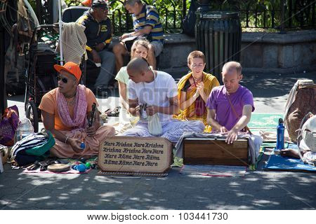 NEW YORK CITY, USA - SEPTEMBER, 2014: Hare Krishna follower in New York City