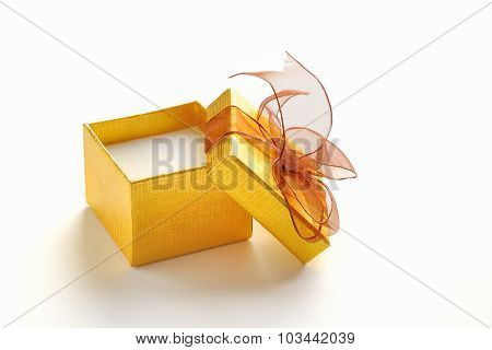 Open Golden Gift Box With Brown Tie