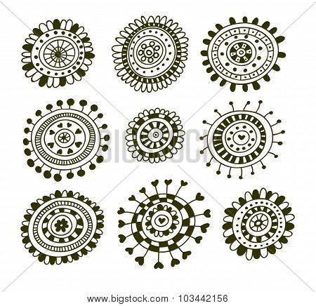 Set of doodle decorative elements.