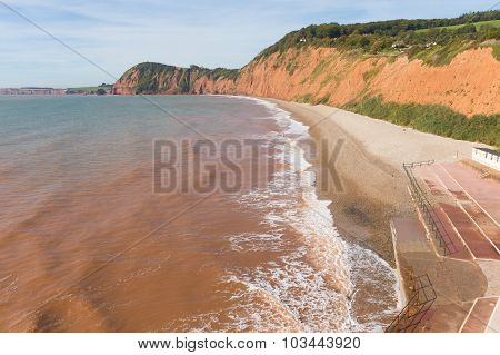 Sidmouth beach Devon west side of this popular tourist town
