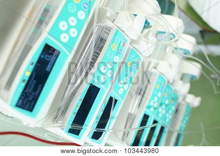 Stack Of Devices For Infusion Therapy In The Hospital