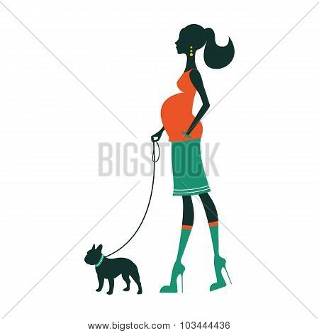 Illustration of a Beautiful woman with with french bulldog