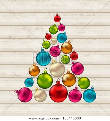 Christmas tree made of colorful balls on wooden background