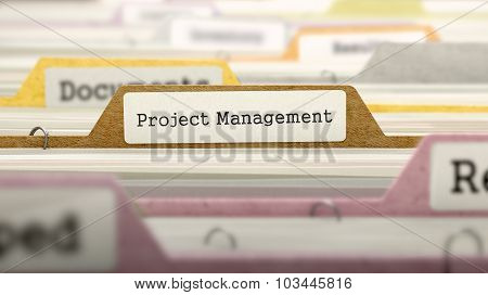 Project Management Concept on File Label.