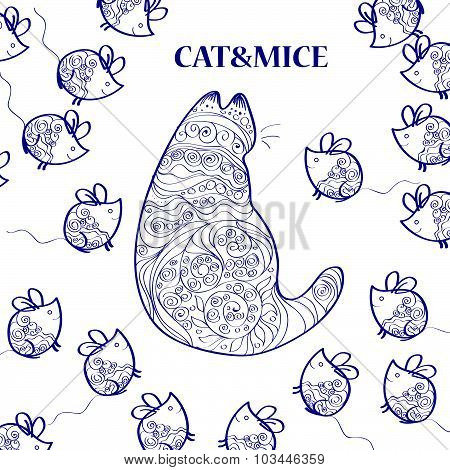 Seamless vector hand drawn pattern with cat and mice isolated on white background.
