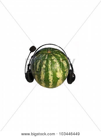 Striped watermelon in black headphones over the white