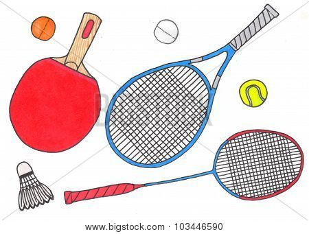 Racquets and balls, sport set. Hand-drawn badminton, tennis and ping-pong racket and ball. Real wate