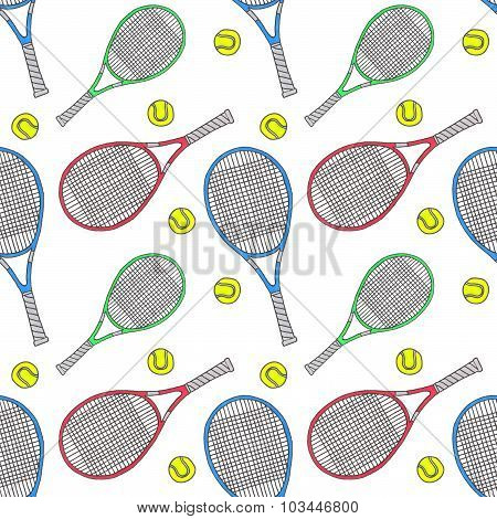 Tennis racquets and balls. Seamless watercolor pattern with soprt equipment. Hand-drawn original bac