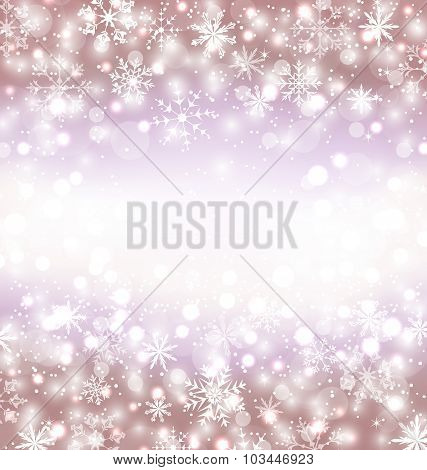 Navidad winter background with snowflakes and copy space for you