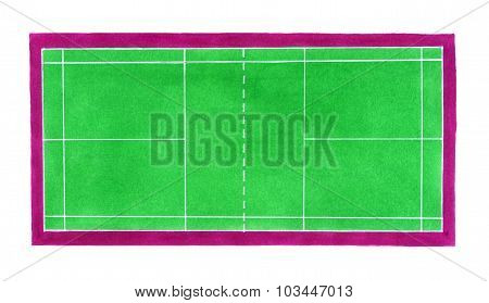 Badminton court. Hand-drawn green badminton or tennis court on the white background.