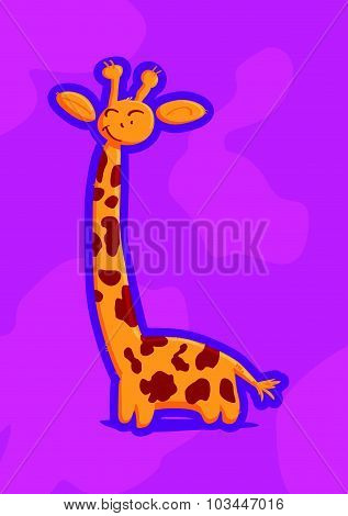 Vector picture of funny smiling giraffe isolated on pink background. Flat cute animal portrait good