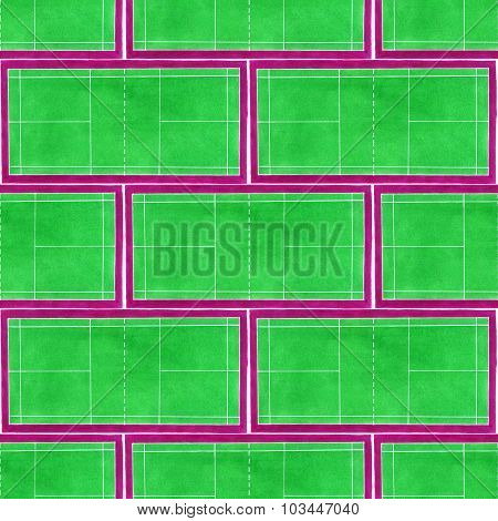 Badminton court. Seamless pattern with hand-drawn green tennis courts on the white background.