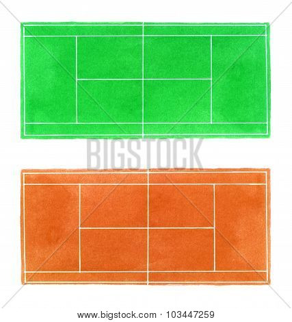 Tennis court. Hand-drawn grass and clay surface tennis courts on the white background.