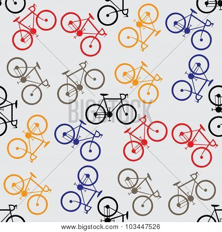 Seamless Pattern Colorful Bicycles