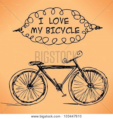 Hand-drawn Bicycle On Grungy Background.