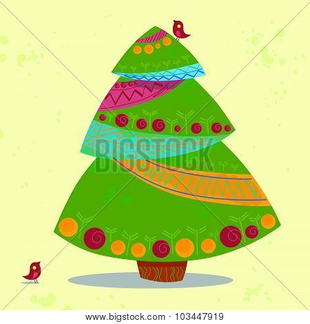 Vector flat funny new year and christmas postcard template.