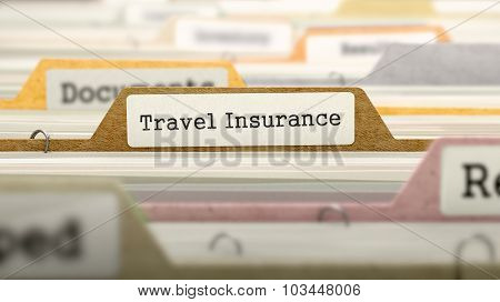 File Folder Labeled as Travel Insurance