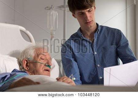 Elder Patient Watching His Results