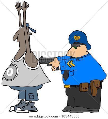 Cop arresting a suspect