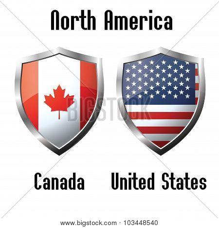 Canada And Usa Flag Icons Theme
