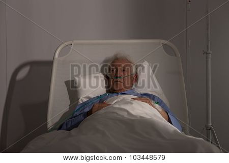 Alone Elder Patient In Hospital