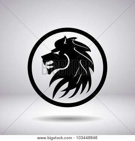Silhouette Of A Lion Head In A Circle