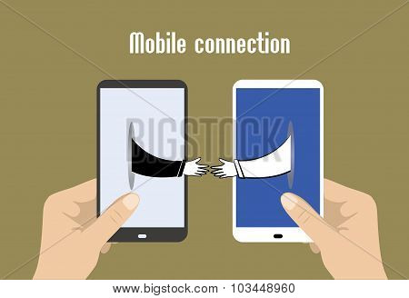 Two Hands Holding Smart Phones, Hands Toward Each Other, Mobile