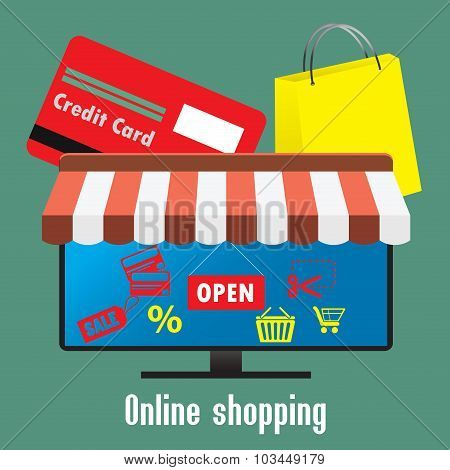 Online Shopping. Tv Screen Or Monitor, A Credit Card And Shoppin