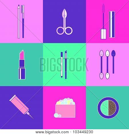 Vector cosmetics icons set.