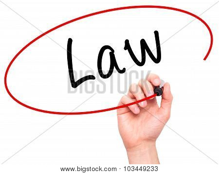 Man Hand writing Law with black marker on visual screen.