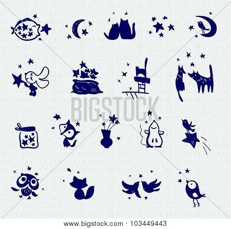 Collection of vector stamp samples. Set of stars, birds, animals on canvas background. Hand made pri