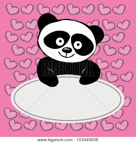 Little  Cute Panda With Hearts ,