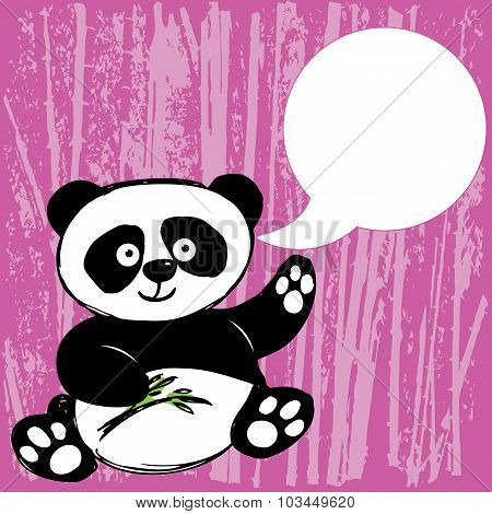 Panda With Bamboo Branch