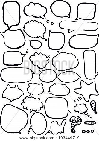 Collection of message balloons on white background. Vector set of hand drawn text bubbles.