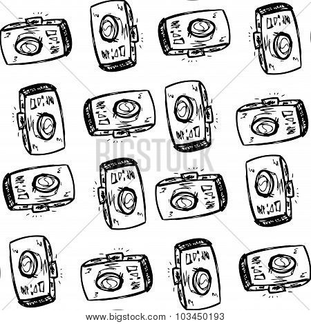 Photo Cameras, Hand Drawing Seamless Pattern
