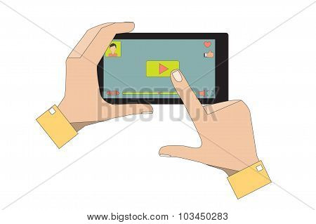 Mobile Phone with Video Player App.
