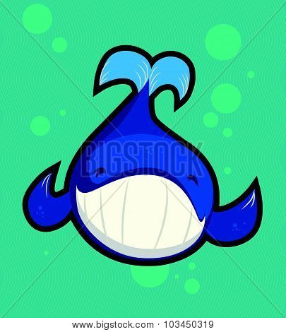 Flat portrait of little funny smiling whale. Good for print design, children book illustration, card