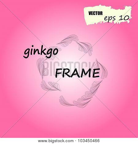 Ginkgo biloba round frame.  Silhouette of ginkgo leaves